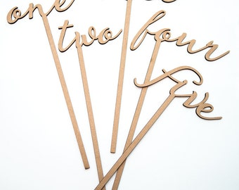 Table Number Words on Sticks - Wooden Words for Table Numbers Wedding Decor Reception Table Numbers (Item - LWS100)
