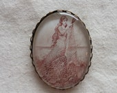 Vintage Mermaid Tending a Net Brooch