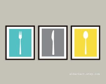 Fork Knife Spoon Art Prints - Kitchen Art Prints - Blue Grey Yelow - Modern Kitchen Decor