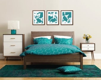 Cherry Blossoms Art Prints - Set of 3 - Turquosie Teal and White - Nature Home Decor - Modern Spring Tree Wall Art