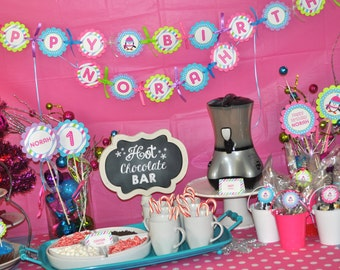 Penguin 1st Birthday Banner Girls - Winter Onederland Birthday Party Decorations - Girl Penguin Birthday