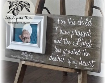Adoption Gifts, Personalized Baby Gifts, Infertility Baby, Baby Frame, Baptism Gift, Personalized Picutre Frame, 8x20 The Sugared Plums