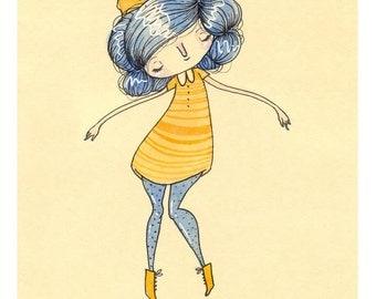 Sunshine - Mini Print - Hannakin sketchbook illustration blue hair yellow girl golden glow float floating joy warm bow peter pan collar