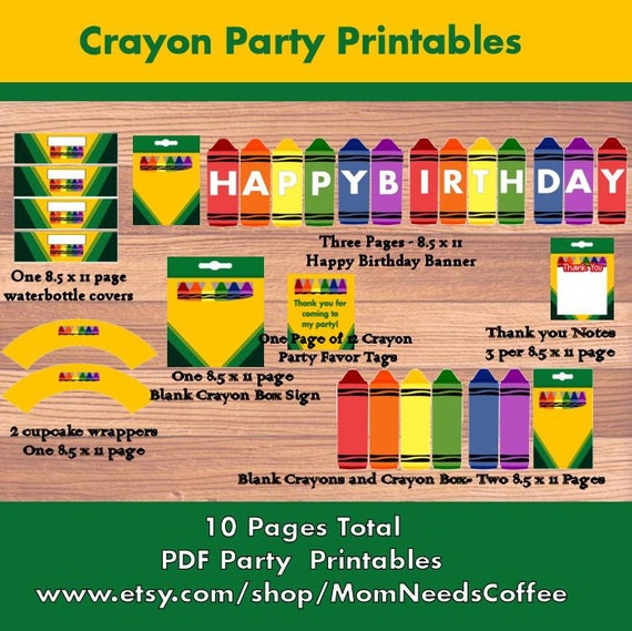 Printable Crayon Party Package Crayon Party Printables