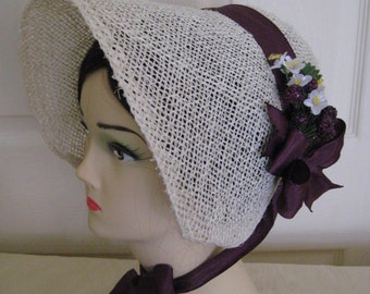 Regency/Victorian Straw Bonnet. Jane Austen. Handmade. Purple/Plum Berry trim.