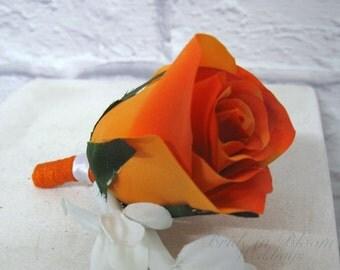Mens silk boutonniere Orange rose Groom groomsmen boutonniere weddings or prom