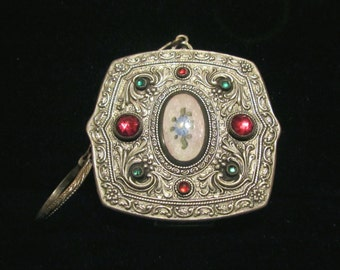 Victorian Compact Purse Silver Guilloche Red And Green Stones Finger Ringer May Fair RARE