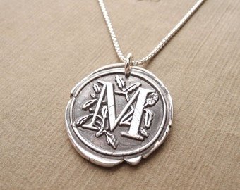 Floral Wax Seal Monogram Necklace, Personalized, Initial, Fine Silver, Sterling Silver Chain, Made To Order