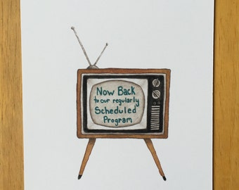 Vintage TV, Now Back, Program, Show, Antena, Vintage, Television, Retro Television, Retro TV, Vintage Inspired, Antique TV, Watercolor Art,