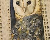 Barn Owl Bookmark Original Handpainted Watercolor Illustration
