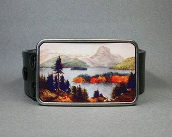Belt Buckle American Wilderness Mountains Trees Lake