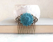 Flower Hair Comb Something Blue Antique Brass Filigree Comb Teal Floral Comb Vintage Style Bridal Spring Hair Accessories Bridesmaids Gift