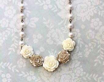 Bridal Necklace Statement Necklace Rose Wedding Jewelry Pearl Chain Flower Bib Necklace Ivory Cream and Gold Rose Floral Jewellery