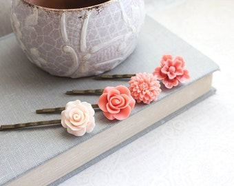 Coral Rose Bobby Pins Flowers For Hair Floral Hair Accessories Peach Hair Pin Bridesmaids Gift Hair Clips Chrysanthemum - Set of Four (4)