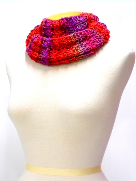 Hand Knit Jewel Toned Circle Scarf. Womens Accessories, Infinity Style Cowl,  Sparkle, Red, Purple