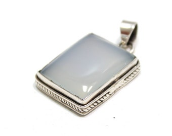 Genuine Chalcedony Pendant in Sterling Silver Chalcedony Pendant