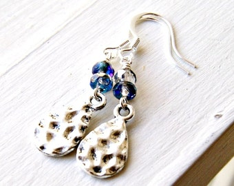 electric blue silver beaded drop earrings, french hook, dangle, drop,