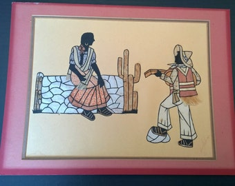 Vintage Paper and Fabric Art - Mexican Serenade - Signed Unframed Mixed Media - Shadow Painting