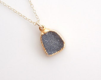 Druzy Necklace in Charcoal Black