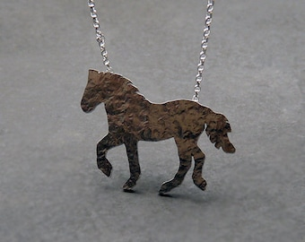 Sterling silver horse necklace. Silver horse pendant. Animal necklace. Silver jewellery. Handcrafted jewelry