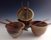 Set of 4 Rice / Noodle bowls - Tan w Earth Red accents