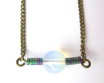 Mawu, hematite and opalite necklace
