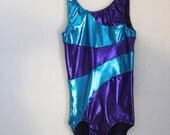 Girls Gymnastics Leotard in Purple and Teal 2t, 3t, 4t, 5t, 6,7, 8, 9, 10, 11, 12, 13, 14