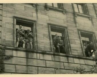 "Vintage Photo ""Window Clowns"" Snapshot Photo Old Antique Photo Black & White Photography Found Photo Paper Ephemera Collectible - 195"