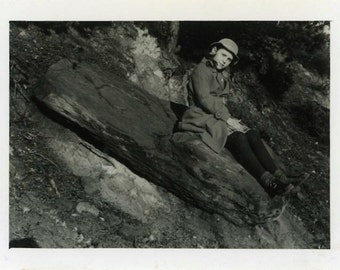 "Vintage Photo ""Sitting with the Shadow Rocks"" Snapshot Antique Photo Black & White Photography Found Photo Paper Ephemera Collectible - 16"