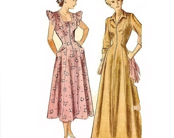 1940s Dressing Gown Pattern, 1940s Misses Pinafore Dress Pattern, Bust 30, Simplicity 2844 Womens Vintage Sewing Pattern