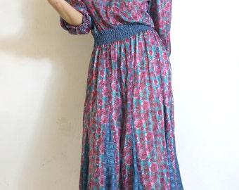 Rose Queen 80s Boho Dress Vintage 80s Dress Diane Freis Roses Gypsy Bohemian Midi Dress