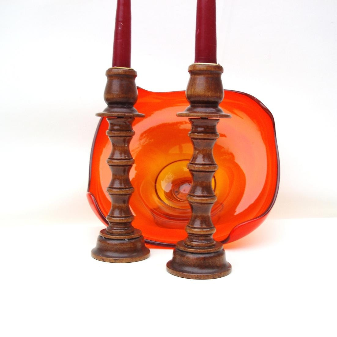 Vintage Wooden Candlesticks Wood Candle Holders By Whimzythyme