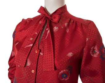 Vintage red floral print pussy bow tie neck button down shirt -- 1970s patterned blouse  -- size medium or large