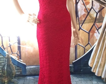 Long Red Lace Formal Mermaid Dress Custom Made