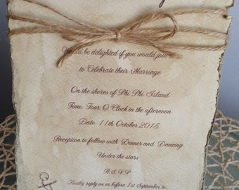 Rustic Distressed Anchor and Twine invitation Card
