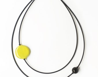 Neon yellow necklace - Yellow Glass Necklace  - Yellow and black bead necklace