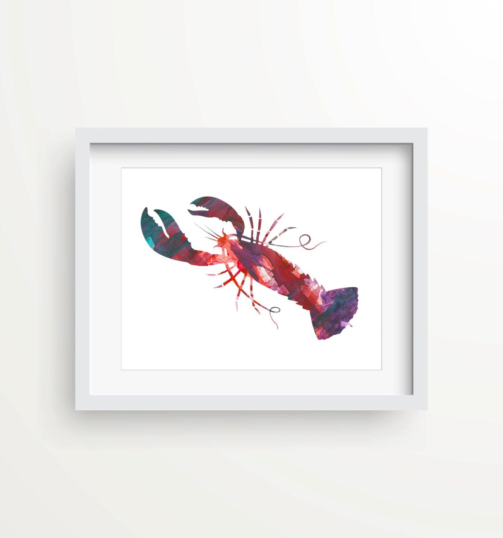 Nautical Kitchen Wall Decor : Lobster print wall beach decor nautical kitchen