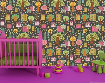 Re-positionable Kids Wallpaper - Colorful Village -Just Peel and Stick Children Wallpapers Removable Fabric Wall Decors prt0042