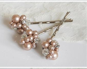 Pearl Cluster Bridal Hair Accessories, Swarovski Crystal and Pearl Wedding Hair Pins, Modern Vintage Style Bridal Hair Clips, TASMIN