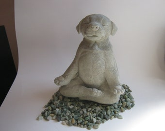 Dog Statue, Buddha Dog, Meditating Dog Statue, Zen Cement Statue, Concrete Dog Statues, Yoga Posing Dog, Meditating Garden Statue Of Dog.
