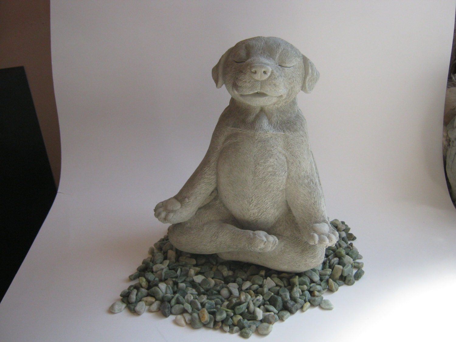 dog statue buddha dog meditating dog statue zen cement. Black Bedroom Furniture Sets. Home Design Ideas