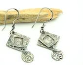 Silver Square Dangle Earrings Geometric Shaped Modern Handmade Jewelry Metal Work Jewelry Minimalist Hand Stamped