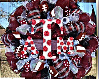 Deco Mesh Texas A&M Wreath, deco mesh wreath, wreath, football wreath,