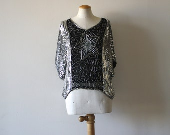 Sequin Star Shirt Silver Black 100% SILK Top Beaded - Women's M L - 1980s Vintage