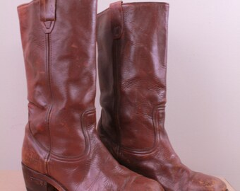 Vintage - 70s - Distressed - Stitched - Brown Leather - Chunky Heel - Campus - Motorcycle - Biker Boots - Mens 10.5 / 11