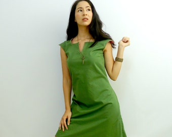 Mod Shift Dress - Green and Pink - Mod Dress - Reversible