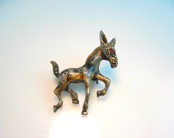 Donkey Brooch. Enamel Pin. Sterling Silver & Marcasite Jewelry. Vintage 1960s Jewelry. Frisky Animal Pin. Made in Germany Figural Pin.