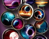 """Sci-Fi Space II - Digital Collage Sheets, Astronomy Digital Downloads 1.5"""", 1.25"""", 30mm, 1"""", 25mm circles for jewelry, bottle caps - CG-919"""