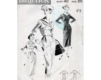 1950s Sheath Dress Pattern Butterick 7937 Plus Size Vintage Sewing Pattern Bust 40 Elegant Wiggle Dress with Wing Collar