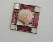 Seashell, Burgundy, Stained Glass, Suncatcher, Decorative